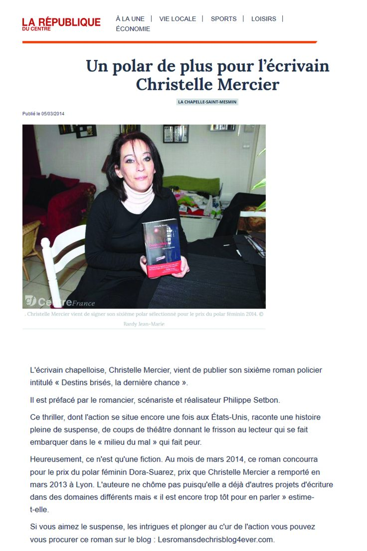 Dora Suarez presse la république du centre
